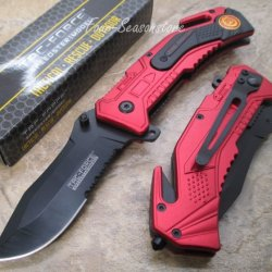 Tac-Force Assisted Opening Sawback Bowie Rescue Fire Fighter Black Half Stainless Steel Blade Knife - Red