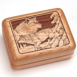 """3X4"""" Box With Money Clip/Pocket Knife - Wolf Pack"""