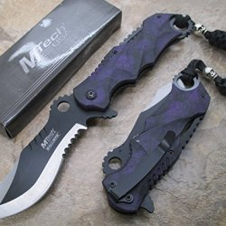 """M-Tech Assisted Opening Rescue Purple Skull Design For Hunting Or Camping Tatical Pocket Knife 3.5"""" 2 Tone Half Serrated Stainless Steel Blade"""