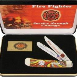Case Firefighter Commemorative Trapper Knife W/ Gift Box