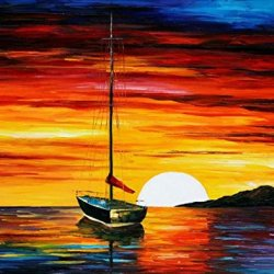 Morning Sun Art Wall Decorative Canvas Knife Paintng On Canvas 30X24In/75X60Cm Unframed