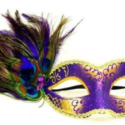 Venetian Peacock Feather Mask - Royal Yellow/Purple
