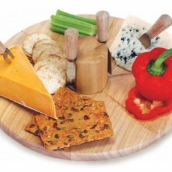 Large Wooden Circular Lazy Susan Cheese Board With Knives And Magnetic Core
