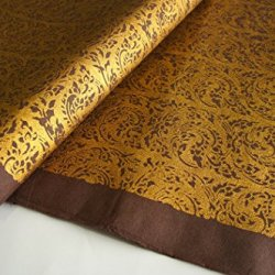 """Exotic Elegance 2 Sheet Gift Wrap Mulberry Paper Golden Thai """"Kankhot"""" Painting On Brown 31.5""""X21.5"""""""