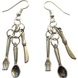 Silverware - Knife, Fork, Spoon Dangling Pierced Earrings