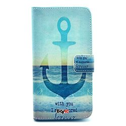 Bayke Brand / Samsung Galaxy Core Gt-I8260 I8262 Smart Phone Case Fashion Pu Leather Wallet Flip Protective Skin Case With Stand With Credit Card Slots & Holder For Samsung Galaxy Core Gt-I8260 I8262 (With You I'M Anchored Forever Anchor Pattern Design)
