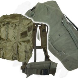 Large Alice Field Pack W/ Frame & Military Duffle Bag - Army Issue