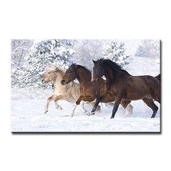 Wall Art Painting Three Horses Running In Snow Prints On Canvas The Picture Animal Pictures Oil For Home Modern Decoration Print Decor