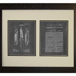 "Hunting-Knife Patent Art Chalkboard Print In A Rustic Oak Wood Frame (16"" X 20"")"