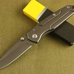All Black Full Tang Pocket Folding Dagger Skinner Knife Da-14