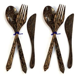 Handmade Wooden Spoon Fork Butter Jam Knife Spreader Flatware Serving Set Of 2, Palm Wood