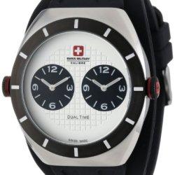 Swiss Military Calibre Men'S 06-4C1-04-001R Commando Ip Black Dual Time Zone Luminous Rubber Watch