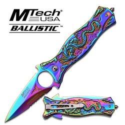 Mtech Ballistic Knife - Multi Color Titanium Dragon Handle