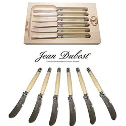 "French Laguiole Dubost - Horn - Set Of 6 Butter Knives - Stainless Steel Lemmet (Genuine Quality Family Dinner White Color Table Flatware/Cutlery Spreaders Setting For 6 People - Each Knife: 6"" - Manufactured In France - With Certificate Of Authenticity -"