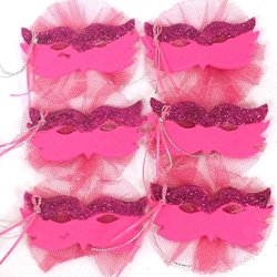 6 Fuchsia Mardi Gras Party Favor Mask With Glitter Sweet 16 Bridal Decoration