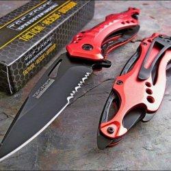 Tac-Force Red Fire Fighter Bottle Opener Glass Breaker Knife