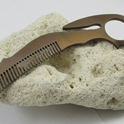 John Gray Knives - Small Titanium Tactical Edc Keychain - Karambit Bottle Opener/Beard Comb - Made In The Usa - Anodized Bronze