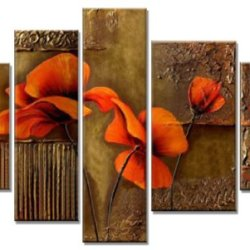 Sangu 5-Piece Patterned Garden Flowers Oil Painting Gift Canvas Wall Art