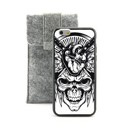 "Casecityliu - Knifes Into The Head Skull Pattern Design Black Bumper Plastic+Tpu Case Cover For Apple Iphone 6 6Th 6Generation 4.7"" Inch Come With Free Non Woven Packing Bag"