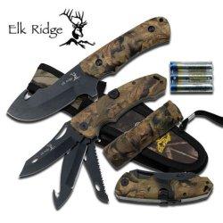 Elk Ridge Er-525 Four (4) Piece Hunting Knife & Flashlight Set