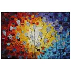Iarts Canvas Oil Painting Abstract Knife Painted Simple Flower Painting