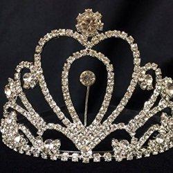 Heart Shaped Silver Rhinestones Tiara Princess Crown Sweet 16 15Th Birthday