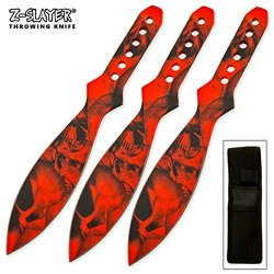 3 Piece Red Zombie Throwing Knives Knife Set