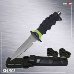 New 420 Stainless Steel Full Size Scuba Diving Knife - Spear Tip (Neon Yellow)