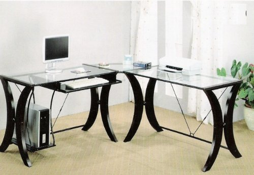 Picture of Comfortable L-Shape Cappuccino Finish Base Glass Top Home Office Computer Desk (B0029RQOIE) (Computer Desks)