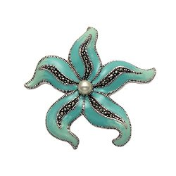 Sterling Silver Starfish Pin W/Blue Enamel, Marcasite And Pearl
