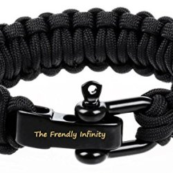 """Hot Survival Bracelet,The Friendly Infinity Adjustable Premium Paracord Bracelet With Stainless Steel D Shackle Fire Starter And Sharp Eye Knife, Size Fits 7""""-8"""" (18-20 Cm) Wrists (Ba-Black)"""
