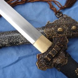 Tang Jian Full Tang Damascus Steel Handmade Blade Pearl Skin Scabbard Sword Sale