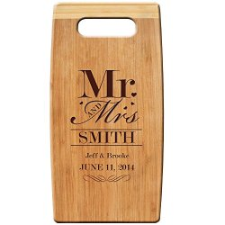 """Personalized Bamboo Cutting Board, Custom Engraved """" Mr And Mrs """" 7""""X 14"""" For Wedding Gift, Anniversary Gift, & Housewarming Gift"""