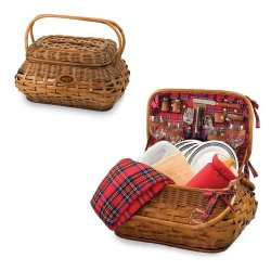 Picnic Time Highlander Red Tartan New York Jets Engraved Picnic Basket