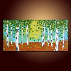Palette Knife 12X24 In/30X60Cm Landscape Tree,Fine Art Superb Quality And Craftsmanship,Unframed Knife Painting Wall Art