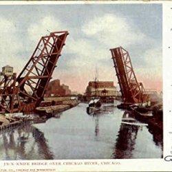Jack-Knife Bridge Over Chicago River Illinois Original Vintage Postcard