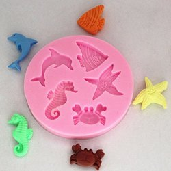 {Factory Direct Sale} Lovely Sea Animal Cake Decorating Sugarcraft Silicone Mould Fondant Mold Tool With Seahorse Shells Randomly
