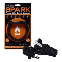 Spark (Tm) Fire Starter Paracord Bracelet In Black Paracord Cobra Braid With Emergency Whistle Side Release Buckle - Magnesium Fire Steel - Clasp With Knife Cutter & Striker Accessories - Survival Gear Kit On Your Wrist - Black 550 Mil-Spec 7-Strand Parac