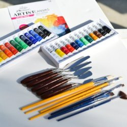 """Quality Phoenix@ Artist'S 16"""" X 20"""" Stretched Canvas Set With Acrylic Paint And Oil Paint Set, 5 Palette Knives, 2 Sets Of Painting Brushes #8"""