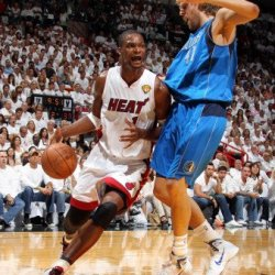 Dallas Mavericks V Miami Heat - Game Six, Miami, Fl - June 12: Chris Bosh And Dirk Nowitzki Photographic Poster Print By Nathaniel S. Butler, 9X12