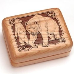 "3X4"" Box With Money Clip/Pocket Knife - Bear/Paw"