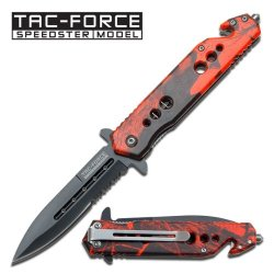 New Ao Red Camo Tac-Force Rescue Knife Tf716Rc