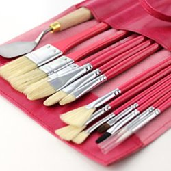 13 Piece Paint Brush Set With Palette Knife - Works With Oil & Acrylic Paints - Includes Leather Wrap Carrying Case -Synthetic Bristles - Wide Variety Of Sizes & Tips