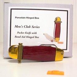 Porcelain Hinged Box Phb Trinket Box Pocket Knife With Band Aid Trinket