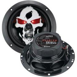 Boss Audio Product-Boss Audio Sk653 Phantom Skull 3-Way Black Injection Cone With Custom Tooled Skull Cover (6.5 Inch )
