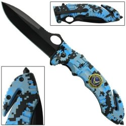 Serve And Protect Spring Assisted Knife-Big Blue