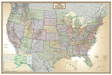 24x36 united states, usa us executive wall map poster