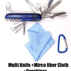 Kitsale 12 Features Multi Function Stainless Steel Pocket Chest Knife Tools+4.5Cm D Links Climbing Outdoor Carabiner+Microfiber Cloth