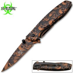 Z-Slayer Trigger Assisted Knife - Undead Zombie Survival - 6.75 Inches Overall Length - Brown Skulls Blade And Handle