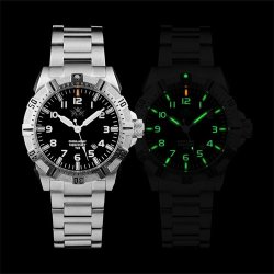 Fine Military Tritium Gas Tube Waterproof Brand Swiss Calendar Dive Watches Men Watch E6020 Silver
